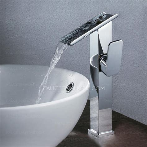 high end waterfall vessel mount bathroom sink faucet
