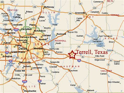 map of terrell terrell municipal airport location map