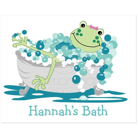 frog in bathtub frog in bathtub kids bathroom art print girl
