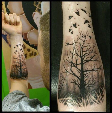 tree arm tattoo 13 trendy forest on forearm golfian