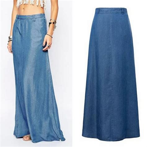 Floor Length Maxi Skirt by Adogirl Denim Maxi Skirt Floor Length Fashion New Summer A