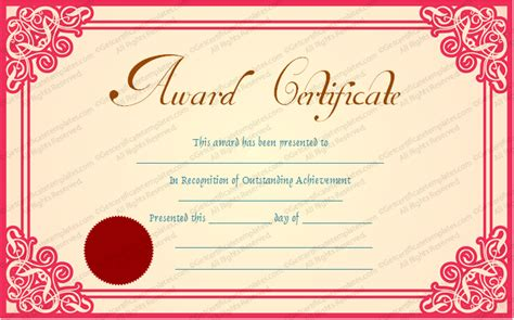 Awards certificate template