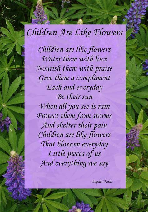 gedicht over de lotus bloem children are like flowers framed angela charles poem