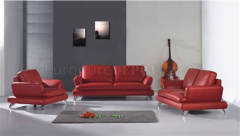 modern red leather living room set