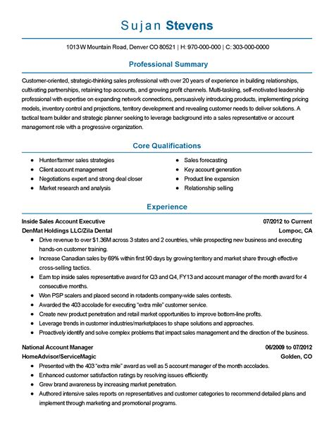 Construction Professional Resume Sles Professional Sales Account Executive Templates To Showcase Your Talent Myperfectresume