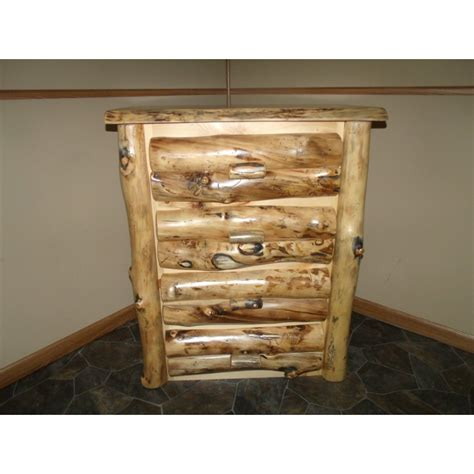 Aspen Log Furniture Bed And Dresser Set