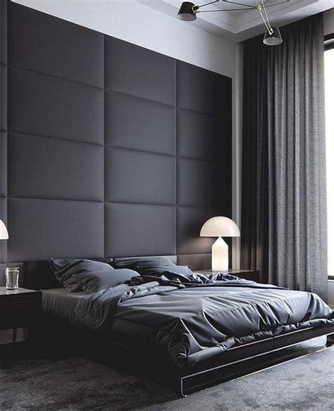 large modern  masculine master bedroom dark grey wall