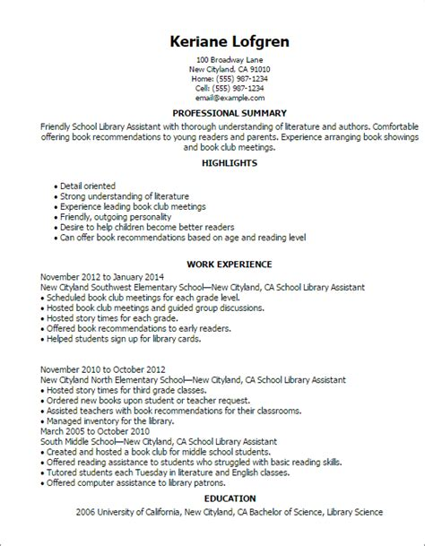 Library Associate Sle Resume by School Library Assistant Resume Template Best Design Tips Myperfectresume