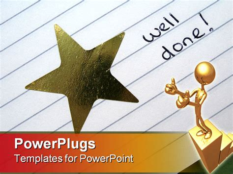 ppt templates for rewards gold star sticker with words well done powerpoint template
