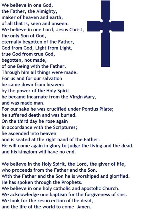 printable version nicene creed this is the nicene creed the version that is in the bcp