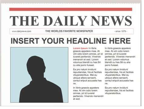 mock newspaper front page template quotes