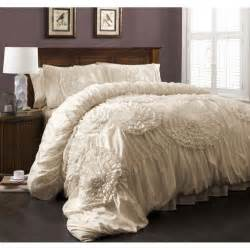 ruffle comforter queen calliope rose 3 pc ivory flower ruffle comforter bedding