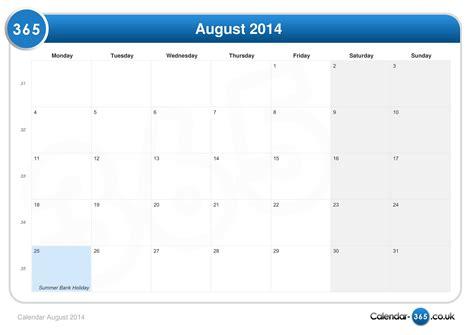 August Calendar 2014 Calendar August 2014