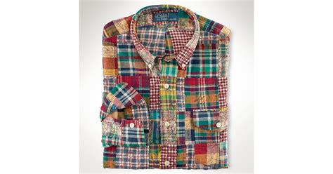 Madras Patchwork Shirt - lyst polo ralph custom patchwork madras shirt in