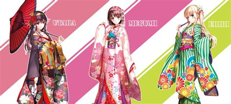 Fp Saenai Sawamura Eriri Kimono cleavage japanese clothes kasumigaoka utaha katou megumi kimono misaki kurehito saenai