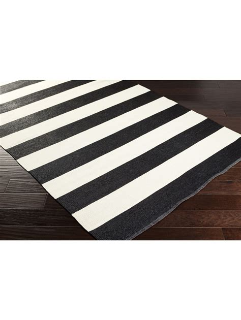 kennedy indoor outdoor stripe rug black and white all