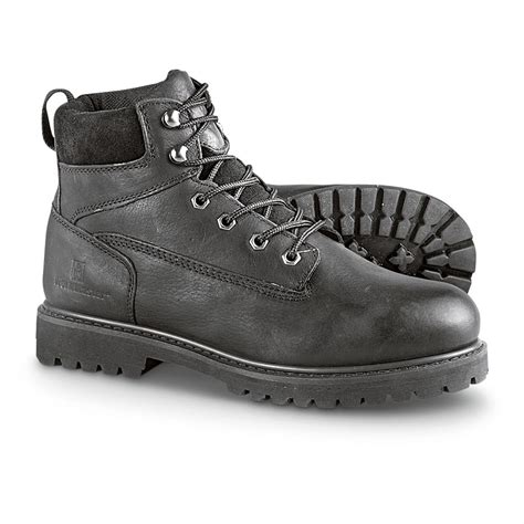 black work shoes workmaster 174 6 quot steel toe work boots black 236606 work