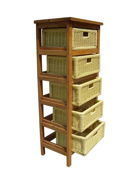 5 Drawer Wicker Storage by 5 Drawer Rustic Brown Abaca Storage Rack