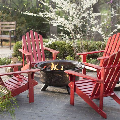 Adirondack Fire Pit Chat Set Red Chairs Outdoor Wood Patio Outdoor Wood Patio Furniture