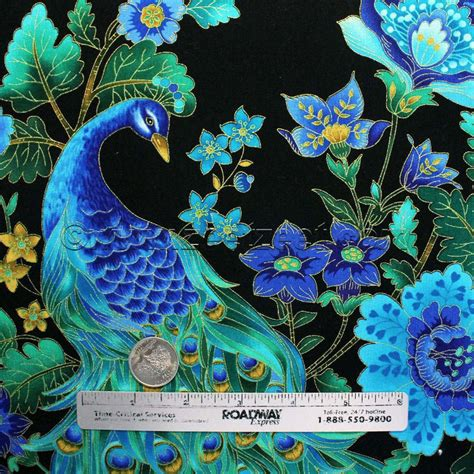 Peacock Quilt Fabric by Peacocks Plume Black Gold Metallic Etching Peacock Quilt