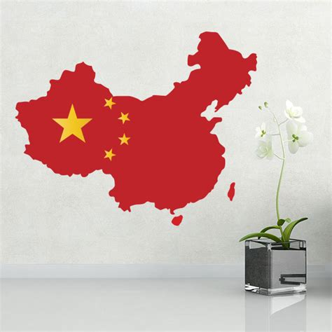wall stickers china china flag map wall sticker diythinker