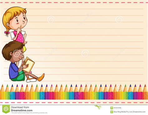 border design with children and colorpencils stock vector