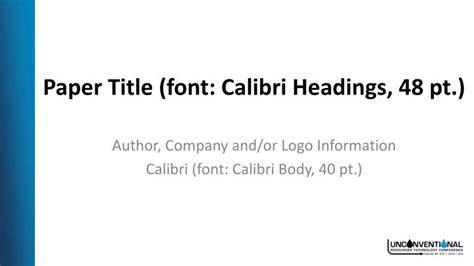 paper title font calibri headings  pt