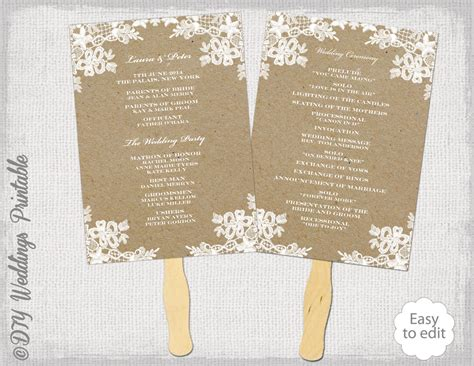 fan template for wedding program rustic wedding fan program template rustic lace