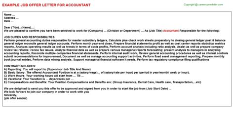 appointment letter format accountant accountant offer letter format accountant offer letter