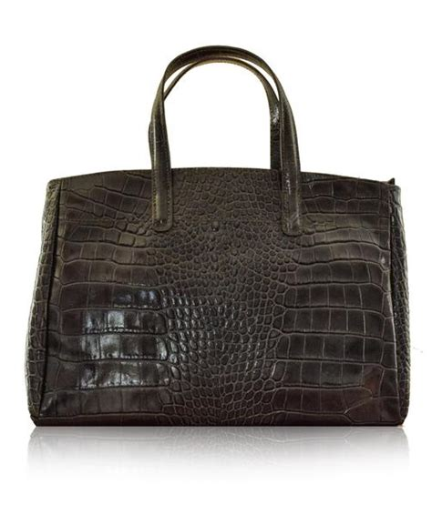 Croco String Rotelli Shoulder Bag godenzo grey longch roseau style italian leather tote