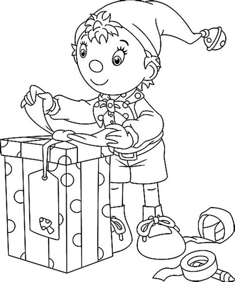 elf size coloring page noddy the elf preparing christmas present coloring page