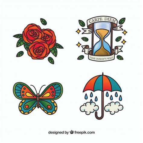 tattoo icons colorful school collection vector