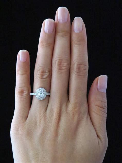 sale 1 carat oval halo gatsy engagement ring made simulant wedding bridal