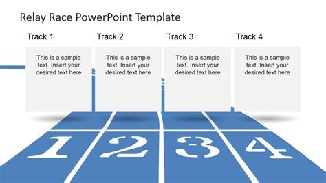 triathlon template numbered race track lanes for powerpoint slidemodel