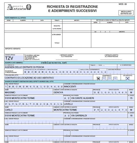 f23 codice ufficio modello rli nuove istruzioni dell agenzia delle entrate