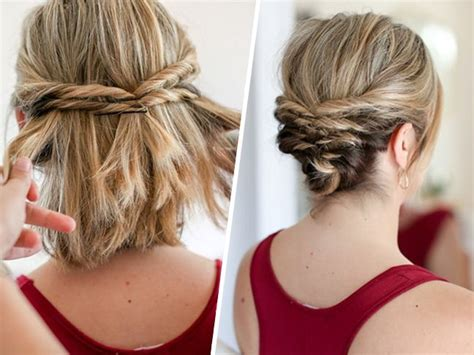 diy upstyle hairstyles this quick messy updo for short hair is so cool messy