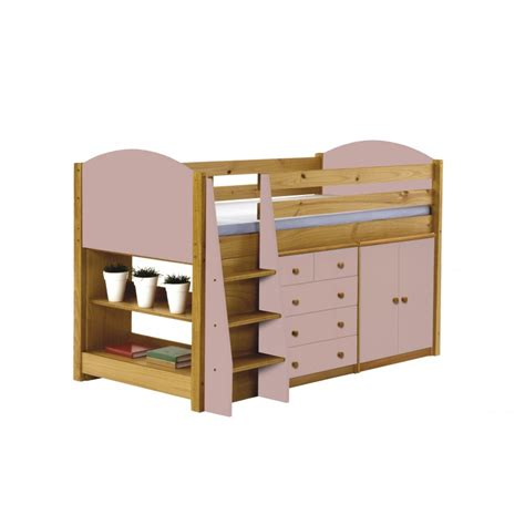 Mid Sleeper With Wardrobe And Drawers by 96 Mid Sleeper With Wardrobe And Drawers Light Pink