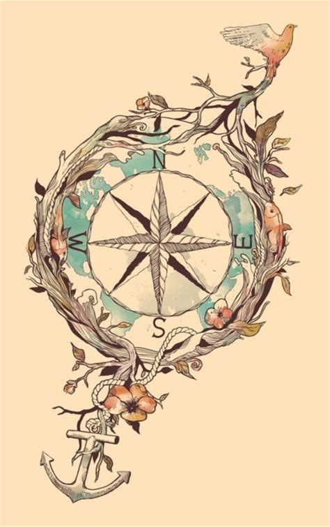 compass tattoo with anchor nautical compass tattoo tumblr