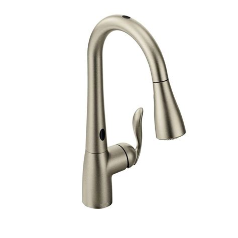 pull faucet shop moen arbor with motionsense spot resist stainless 1 handle pull kitchen faucet at