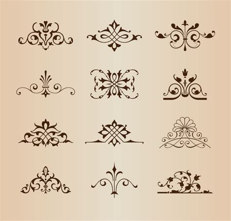 ornament design elements vector set set of vintage floral ornament elements vector