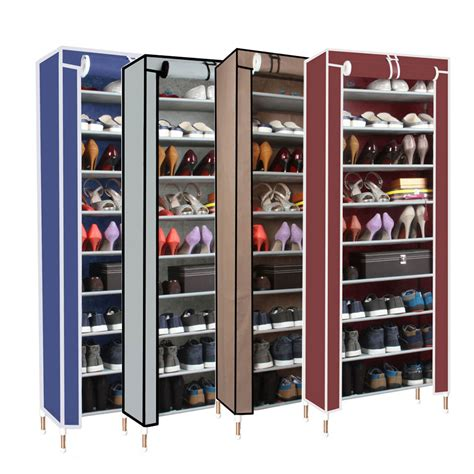 shoe shelf storage dust proof 10 tier shoes cabinet storage organizer shoe