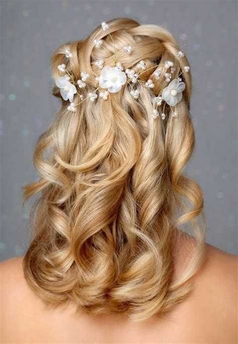 Wedding Hair Half Up Flower by Most Enchanting Half Up Half Hairstyles With Flowers