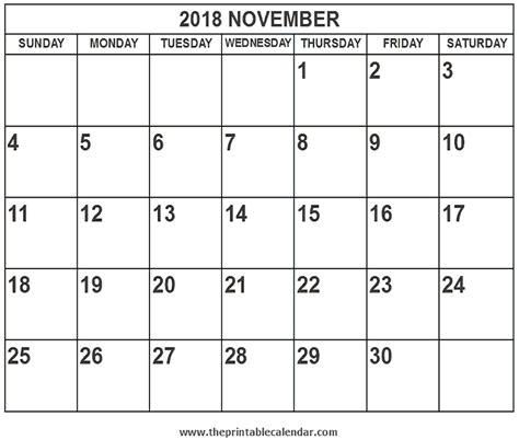 Calendar 2018 November Printable 2018 November Calendar