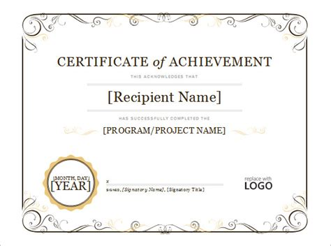 certificates of achievement templates word word certificate template 44 free sles
