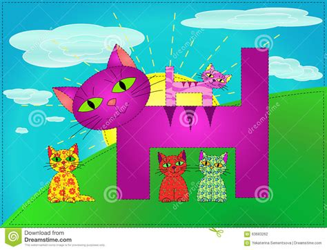 Blue Cats Patchwork - patchwork cats family vector stock illustration image