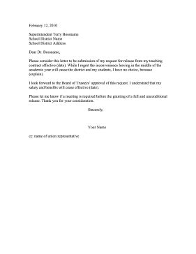 Release Letter From School Resignation Letter Release From Contract