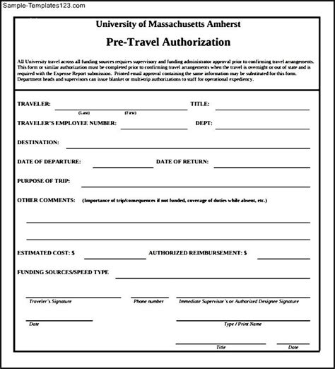 travel authorization form template travel authorization form to sle templates