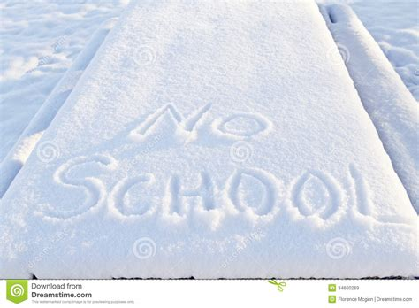 school in snow royalty free stock image image no school two words outlined in snow royalty free stock