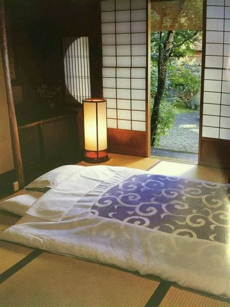 japan futon bedding  tatami mat floor  open shoji screen japan lifestyle