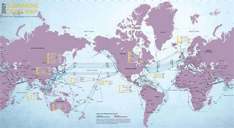 undersea cable map 2009 submarine cable map visual ly